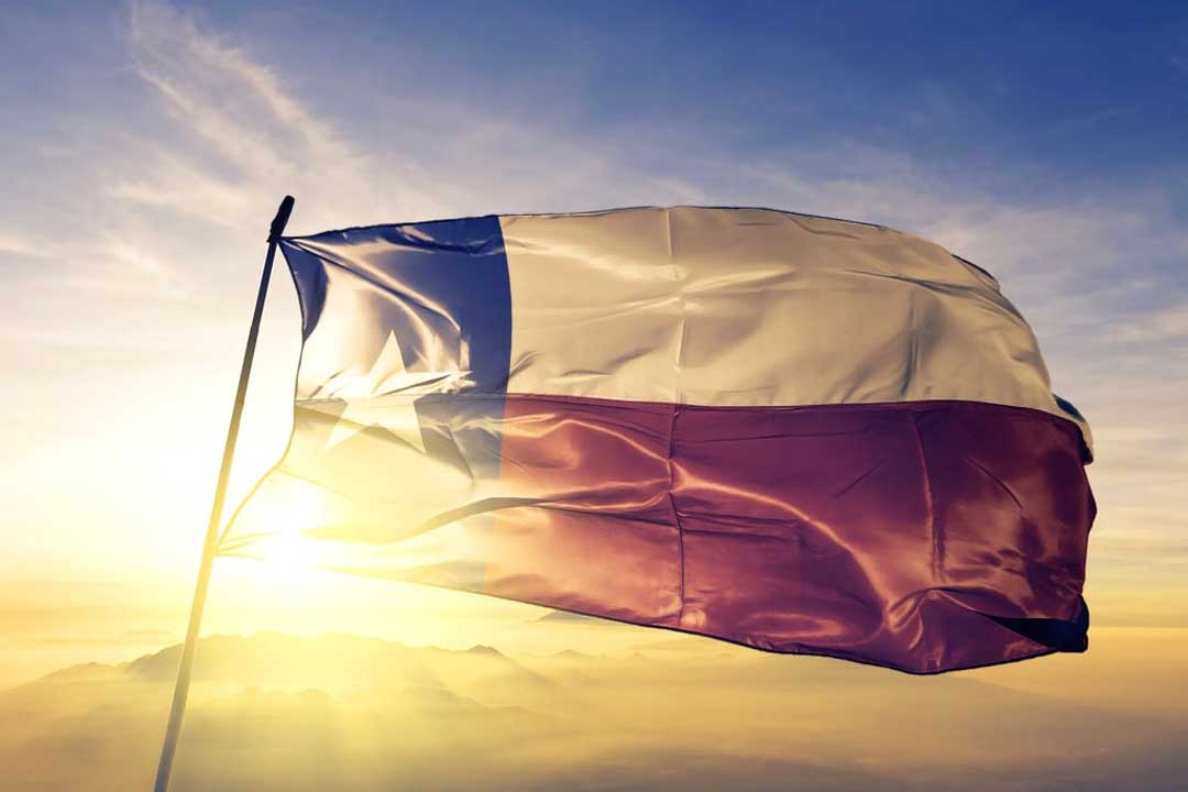 texas state flag over brokers license office